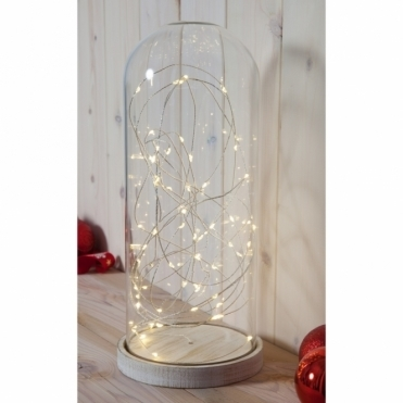 Glass Dome Bell Jar with Base & Warm White LED Fairy String Lights - Large