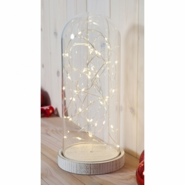 Glass Dome Bell Jar with Base & Warm White LED Fairy String Lights