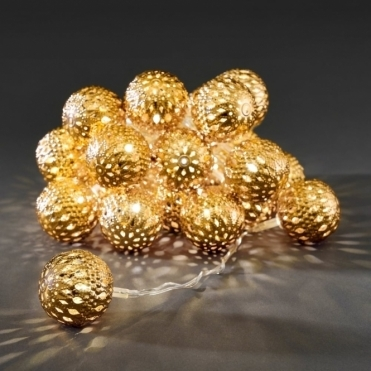 Gold Maroq Metal Sphere LED Fairy String Lights Mains Powered