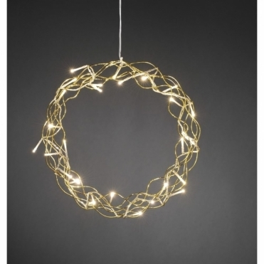 Gold Metal Christmas Wreath Warm White LEDs