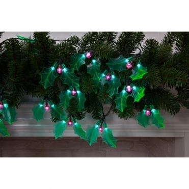 Holly Sprigs LED Light Chain Garland - Dual Power