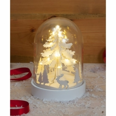 Illuminated 3D Stag & Tree Scene Glass Dome Bell Jar with Warm White LEDs