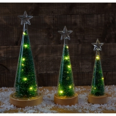 Illuminated Christmas Tree & Star Conical Glass Jar Large - Warm White LEDs