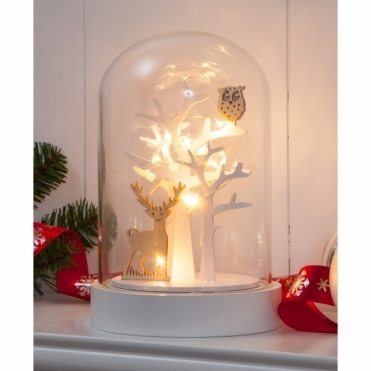Illuminated Deer & Owl Forest Scene Glass Dome Bell Jar - Warm White LEDs