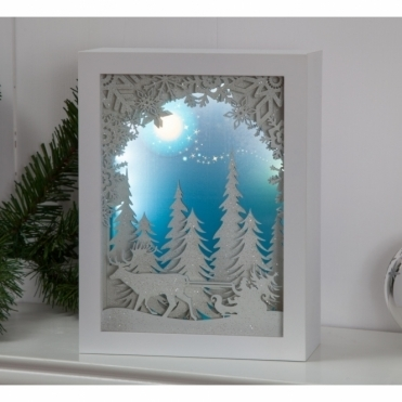 Illuminated Holographic Sleigh in Forest Scene - Musical