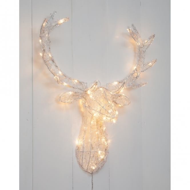 Hurn & Hurn Discoveries Illuminated LED Acrylic Deer Stag Head 3D - Warm White Lights