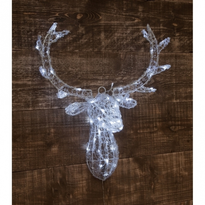 Hurn & Hurn Discoveries Illuminated LED Acrylic Deer Stag Head 3D - White Lights