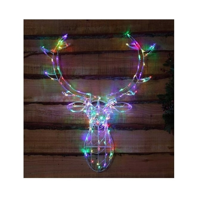 Hurn & Hurn Discoveries Illuminated LED Deer Stag Head 3D - Multi Coloured Lights