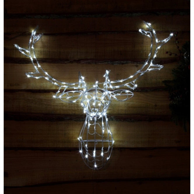 Hurn & Hurn Discoveries Illuminated LED Deer Stag Head 3D - White Lights