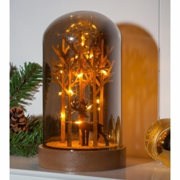 Illuminated Stag in Forest Smoked Glass Dome Bell Jar - Warm White LEDs