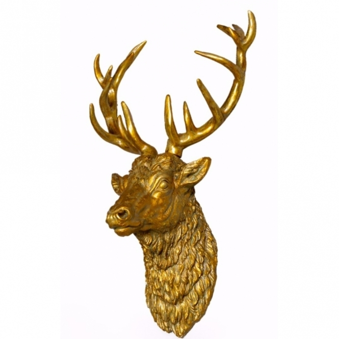 Large Antiqued Gold Stag Head - Wall Decor