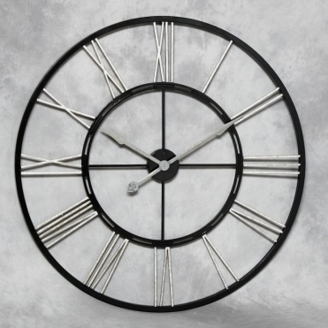 Large Black & Silver Skeleton Iron Wall Clock
