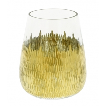 Large Bulb Cut Glass Candle Holder with Metallic Gold Design