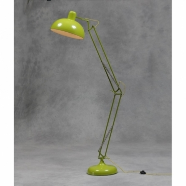 Large Desk Style Angled Floor Lamp - Lime Green