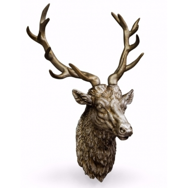 Large Stag Head Wall Decor - Antiqued Silver
