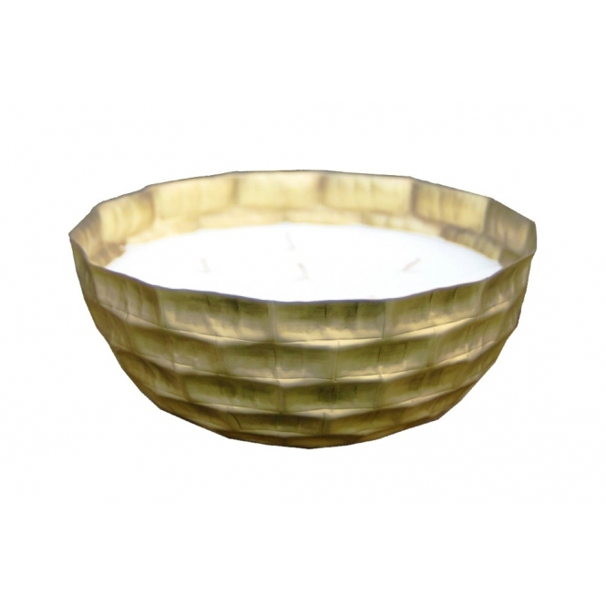 Large Textured Metal Bowl Candle with 6 Wicks - Gold