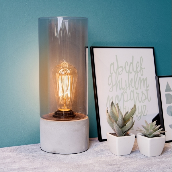 lax table lamp with edison bulb cement base hurn and hurn. Black Bedroom Furniture Sets. Home Design Ideas