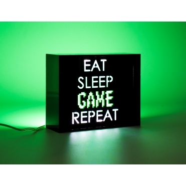 LED Acrylic Light Box - 'Eat Sleep Game Repeat'