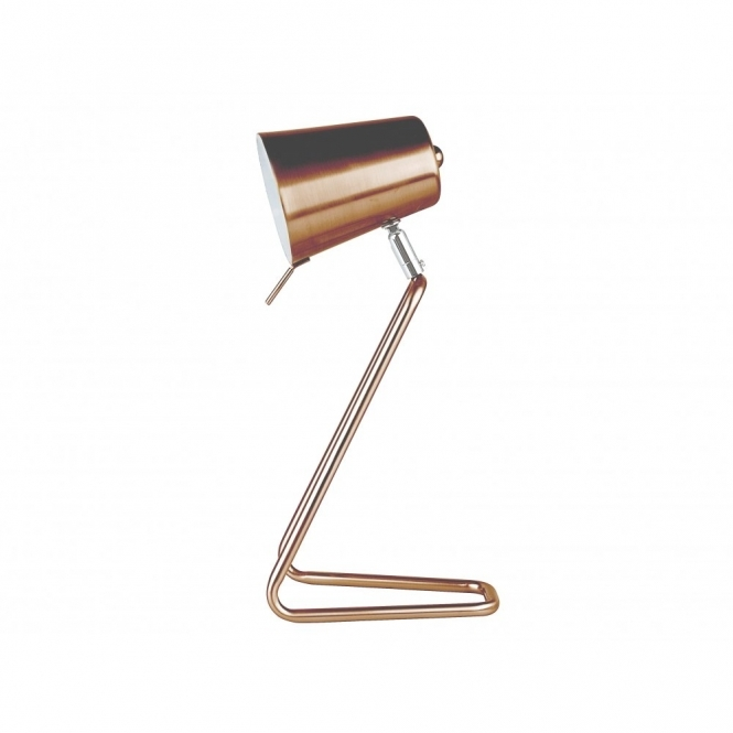 Hurn & Hurn Discoveries Leitmotiv Table Lamp Z Metal Satin Copper Desk Light