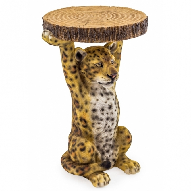 Hurn & Hurn Discoveries Leopard Holding Tree Trunk Slice - Side Table