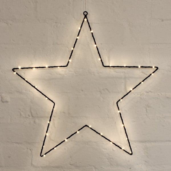 Metal Star Light Black 45cm With Warm White Leds