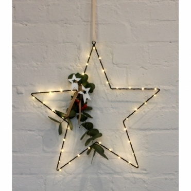 Metal Star Light Black 45cm - Warm White LEDs