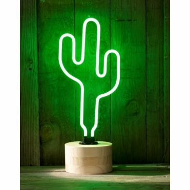 Neon Cactus Table Lamp with Wood Base