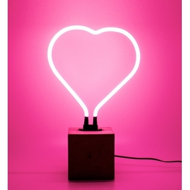 Neon Heart Lamp with Base