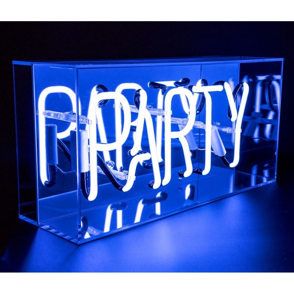 neon party sign acrylic box light hurn and hurn. Black Bedroom Furniture Sets. Home Design Ideas
