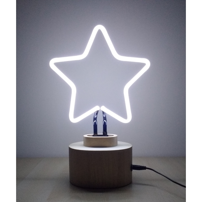 neon white star table lamp exclusive to hurn and hurn. Black Bedroom Furniture Sets. Home Design Ideas