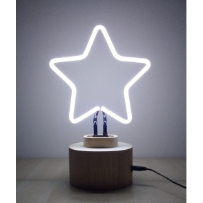Hurn & Hurn Discoveries Neon Star Table Lamp with Wood Base - White