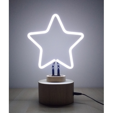 Neon Star Table Lamp with Wood Base - White
