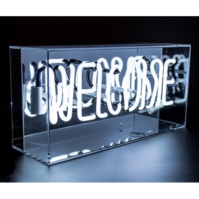 neon welcome sign acrylic box light hurn and hurn. Black Bedroom Furniture Sets. Home Design Ideas