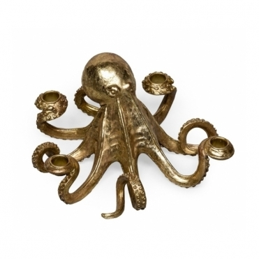 Octopus Candlestick / Candle Holder - Gold
