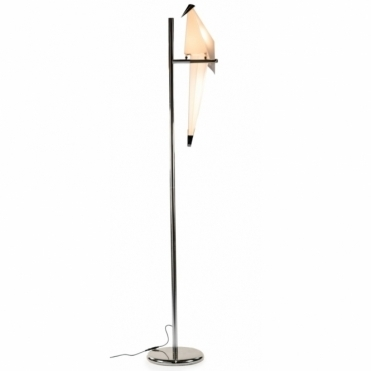 Perching Origami Bird Floor Lamp - Chrome