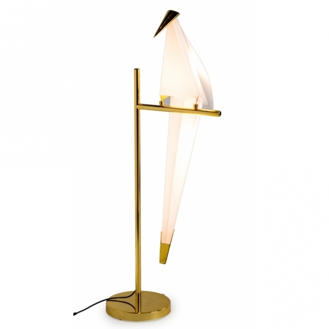 Hurn & Hurn Discoveries Perching Origami Bird Table Lamp - Gold