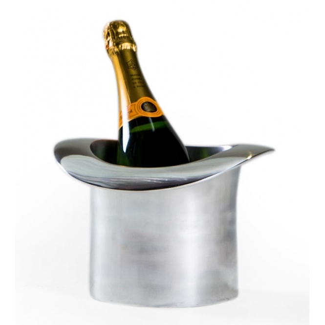 Hurn & Hurn Discoveries Polished Aluminium Top Hat Ice Bucket / Champagne Cooler