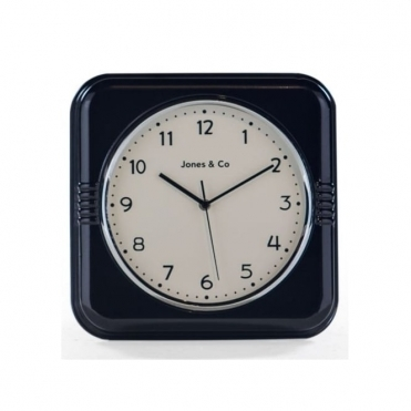 Retro Diner Square Wall Clock - Black