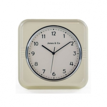 Retro Diner Square Wall Clock - Cream
