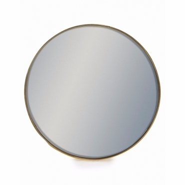 Round Brushed Gold Framed Wall Mirror