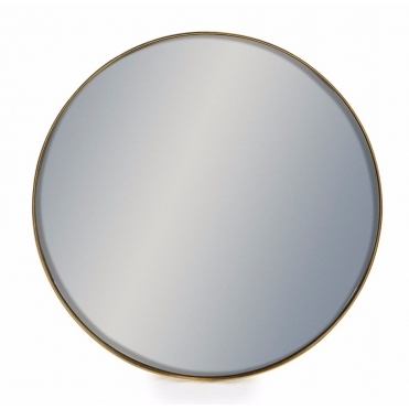 Round Brushed Gold Wall Mirror 50cm