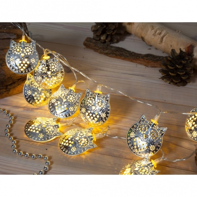Hurn & Hurn Discoveries Silver Filigree Owl LED Fairy String Lights - Battery Operated
