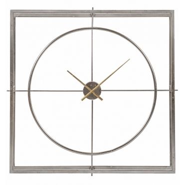 Silver Leaf Square Double Frame Wall Clock - Large