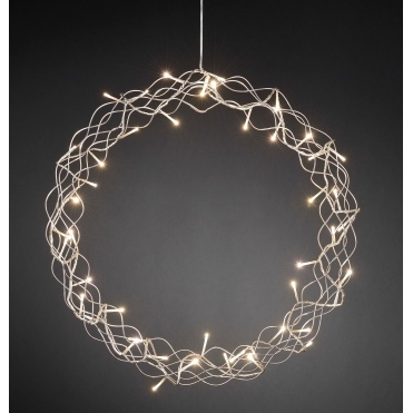 Silver Metal Christmas Wreath 45cm Warm White LEDs