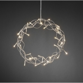 Hurn & Hurn Discoveries Silver Metal Christmas Wreath Warm White LEDs