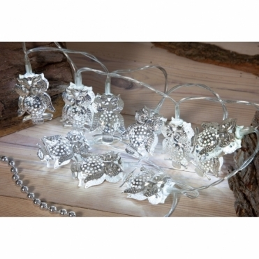 Silver Wise Owl LED Fairy String Lights - Battery Operated