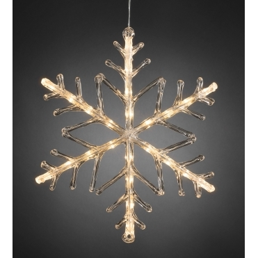 Snowflake Outdoor Christmas Light 40cm Warm White LED - Battery Operated