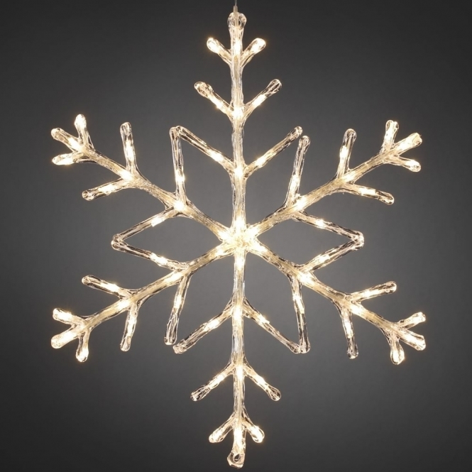 Snowflake Outdoor Christmas Light 60cm Warm White LED   Battery Operated