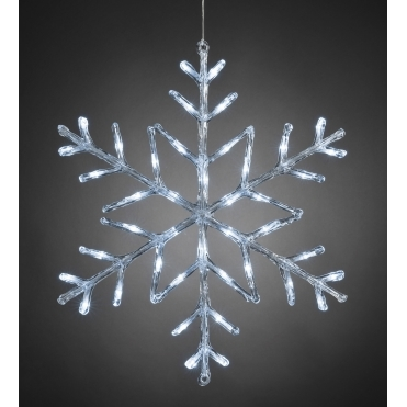 Snowflake Outdoor Christmas Light 60cm White LED - Battery Operated