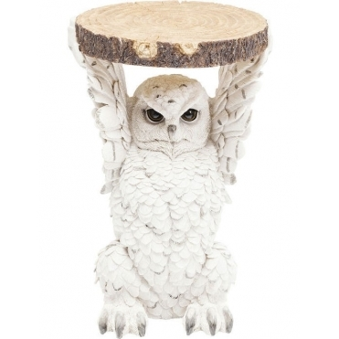 Snowy Owl Holding Tree Trunk Slice - Side Table